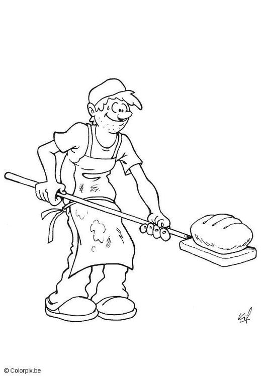 Malvorlage Bäcker | Ausmalbild 5694.
