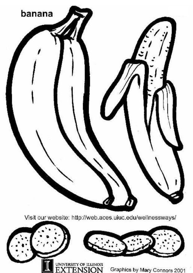malvorlage banane  kostenlose ausmalbilder zum ausdrucken