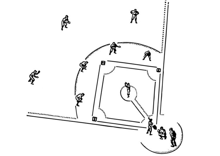 Malvorlage Baseball   Ausmalbild 12957.