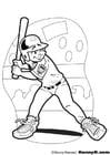 Malvorlage  Baseball Schlagmann