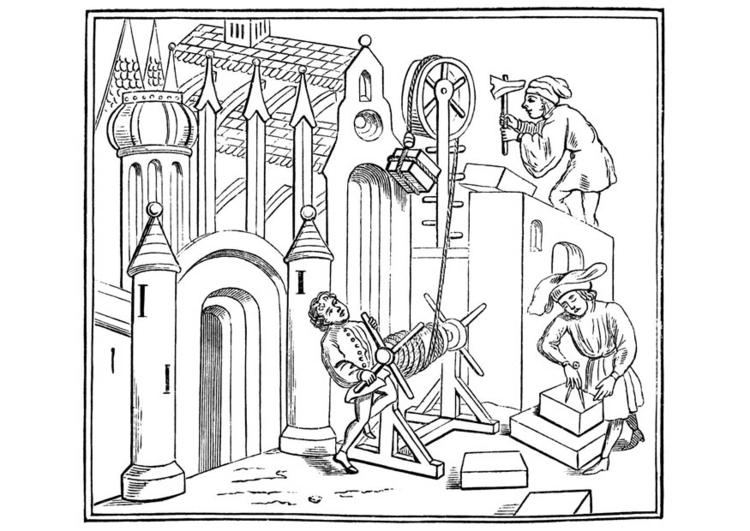 Malvorlage Bauarbeiter bei der Arbeit | Ausmalbild 11259.