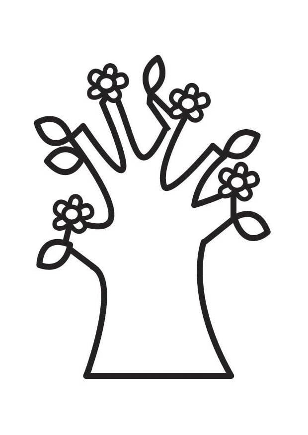 malvorlage baum mit blüten im frühling  kostenlose