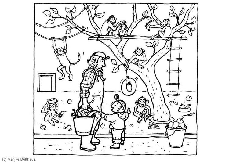 Malvorlage Bei dem Affen | Ausmalbild 6468.