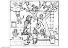 Malvorlage  Bei dem Affen