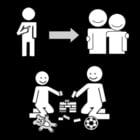 Malvorlage  bei einem Freund spielen