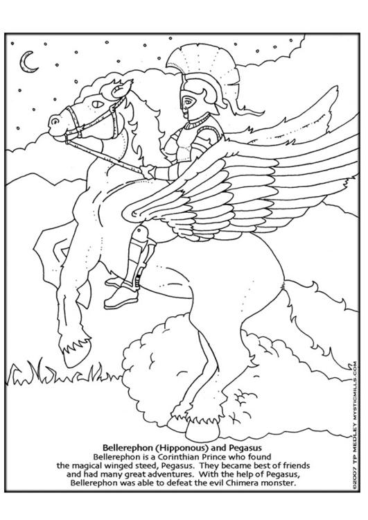 Malvorlage Bellerophon und Pegasus | Ausmalbild 9253.