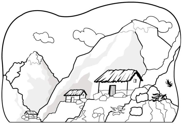 Malvorlage Berge | Ausmalbild 7075.