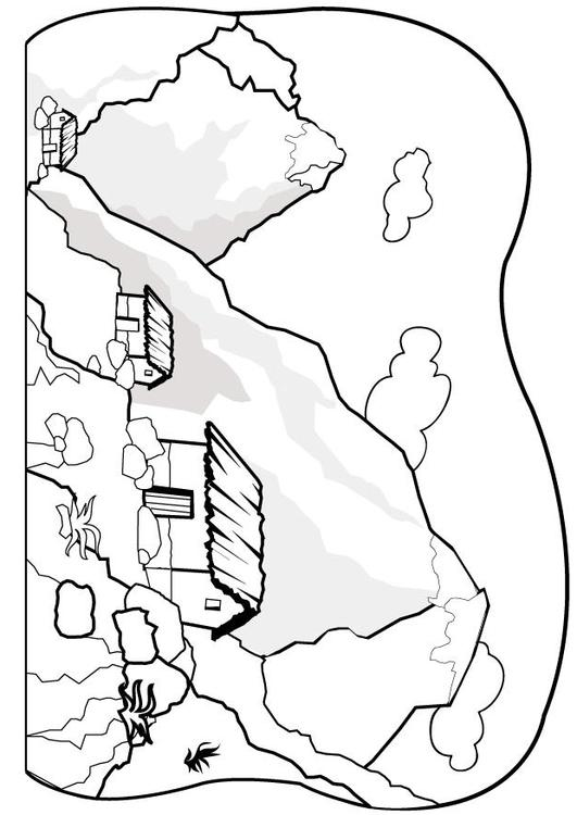 Malvorlage Berge   Ausmalbild 7075.