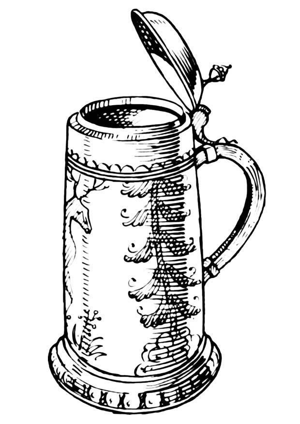 Malvorlage Bierkrug | Ausmalbild 18940.