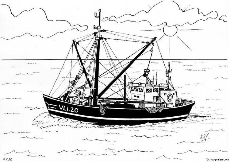 Malvorlage Boot Fischerboot | Ausmalbild 5495.