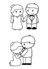 Malvorlage  Braut und Bräutigam