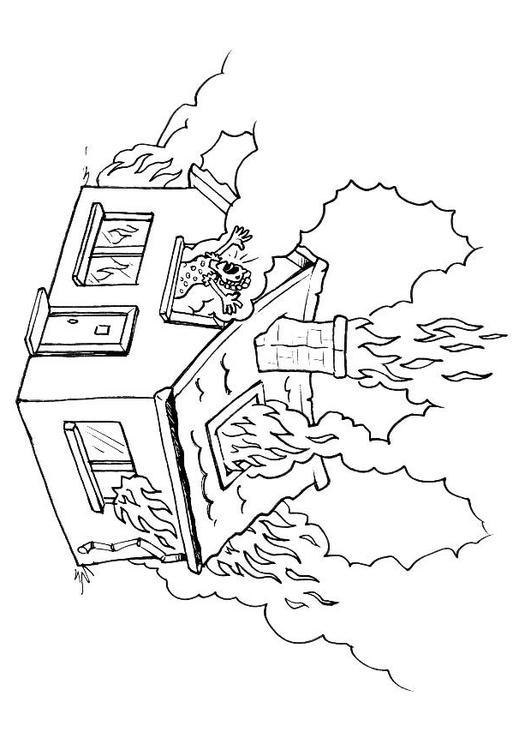 Malvorlage brennendes Haus | Ausmalbild 8176.