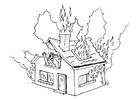 Malvorlage  brennendes Haus