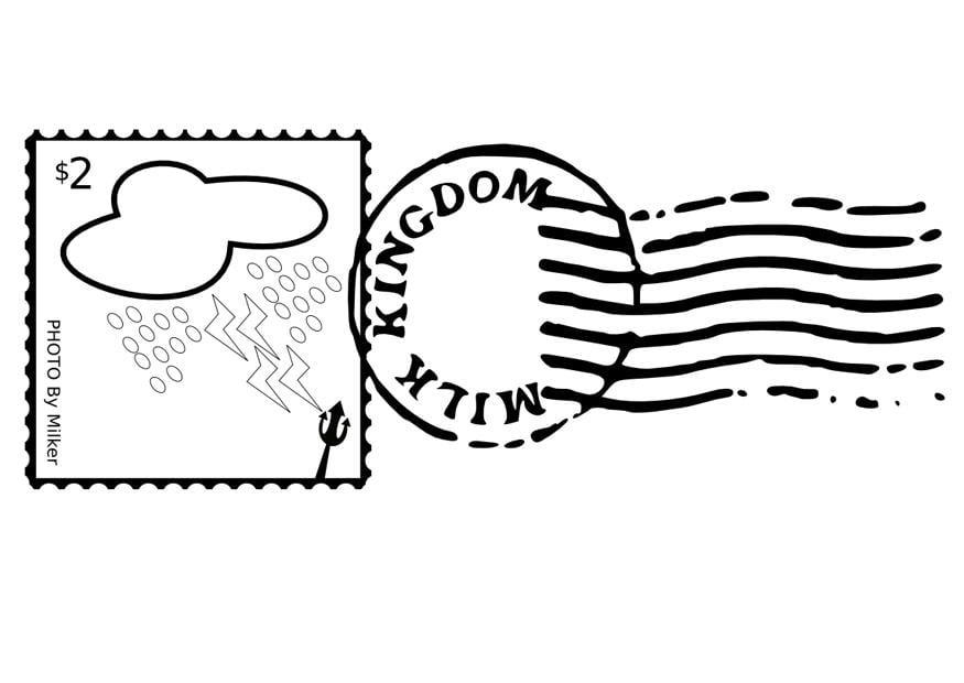 Malvorlage Briefmarke und Stempel Kostenlose