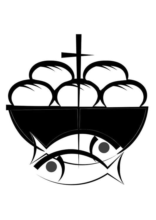 malvorlage brot und fisch  ausmalbild 27509