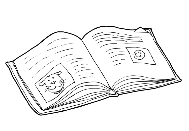 Malvorlage Buch - lesen (2)   Ausmalbild 14984.