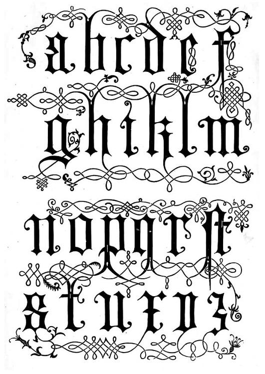 Malvorlage Buchstaben 16. Jahrhundert | Ausmalbild 11257.