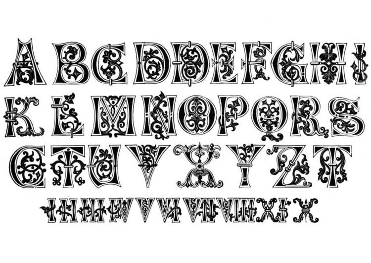 Malvorlage Buchstaben und Nummern 11. Jahrhundert   Ausmalbild 11206.