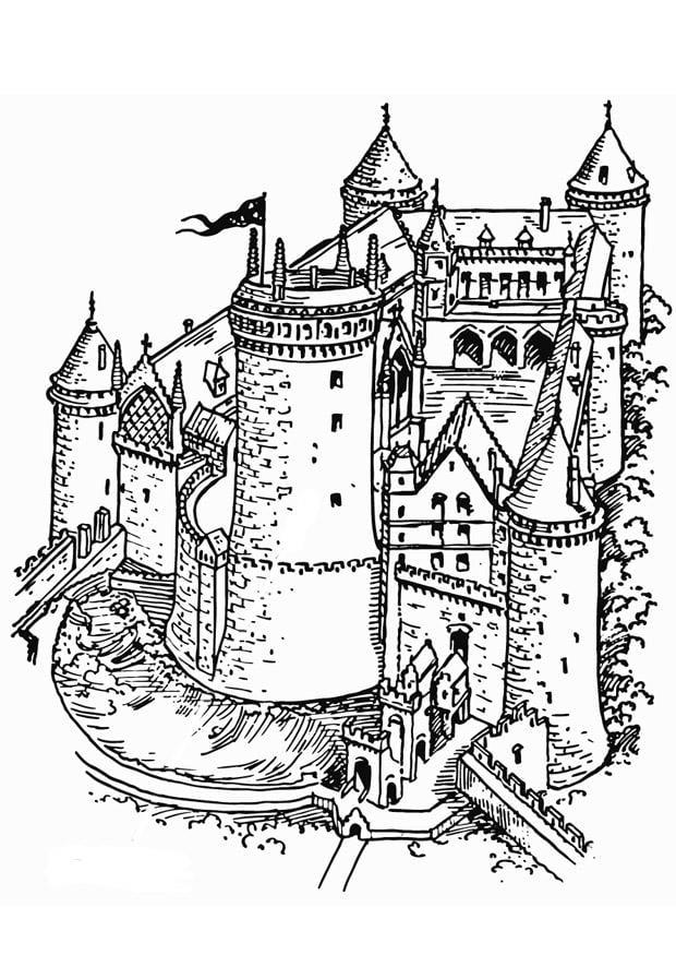 Malvorlage Burg | Ausmalbild 18464.