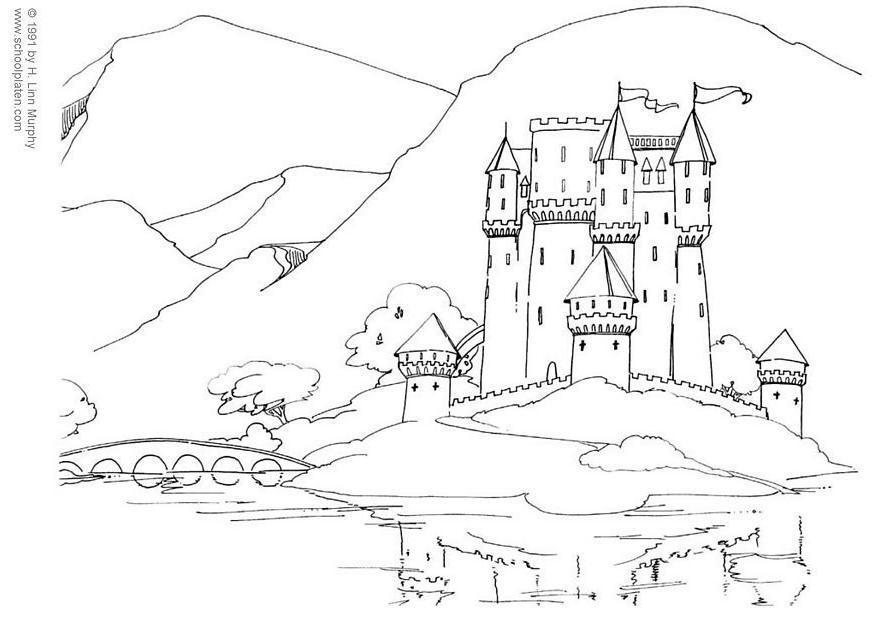 Malvorlage Burg | Ausmalbild 3831.