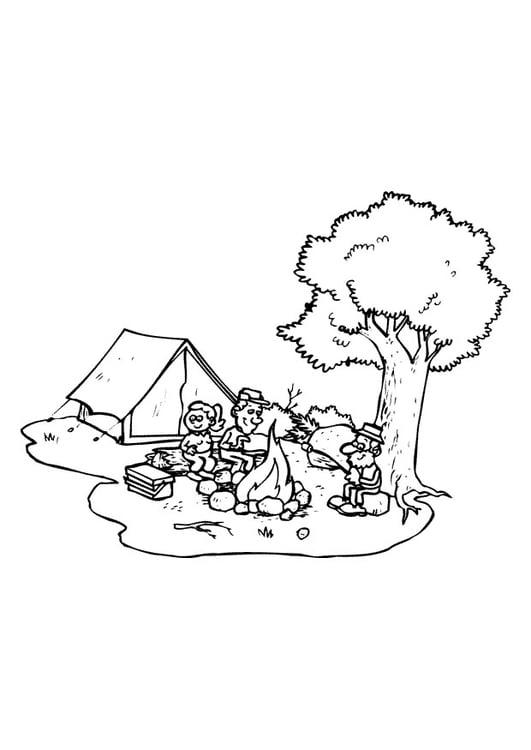 Malvorlage campen | Ausmalbild 9648.