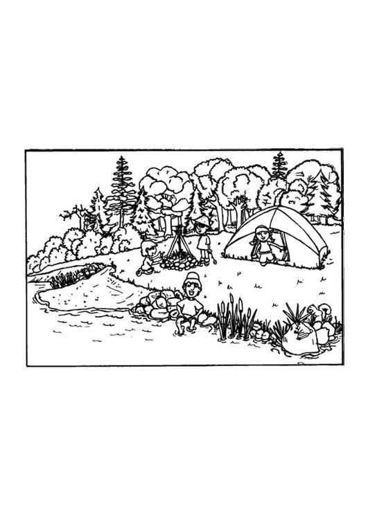 Malvorlage campen | Ausmalbild 9649.