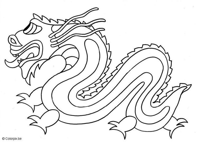 Malvorlage chinesischer Drache | Ausmalbild 13034.