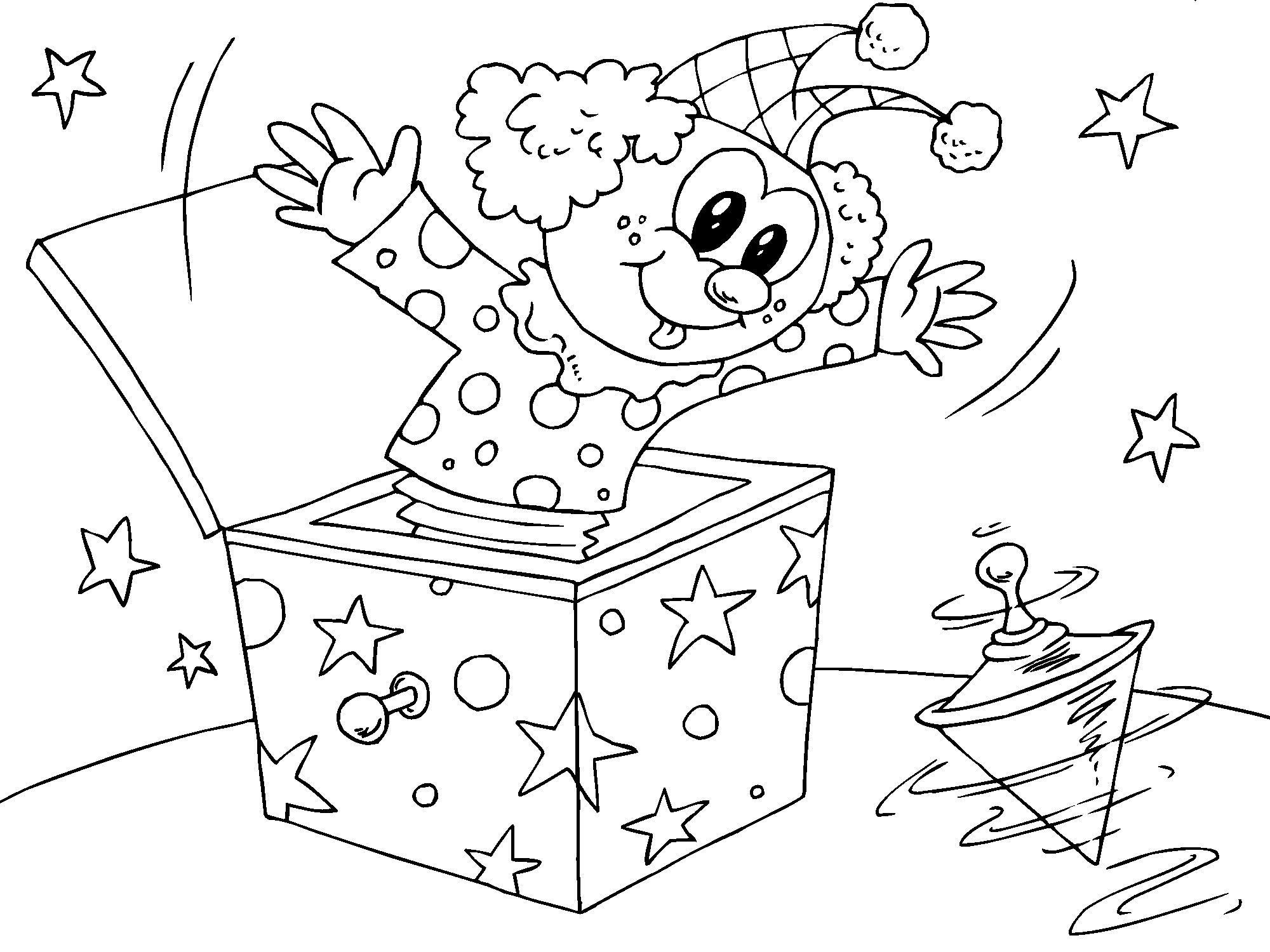 Malvorlage Clown in der Schachtel | Ausmalbild 22826.