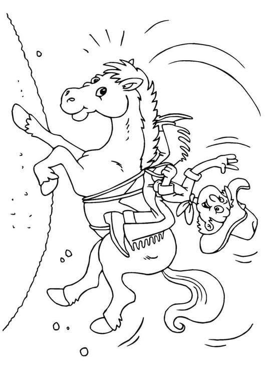 Malvorlage Cowboy Auf Dem Pferd Ausmalbild 25972