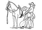 Malvorlage  Cowboy sattelt ein Pferd