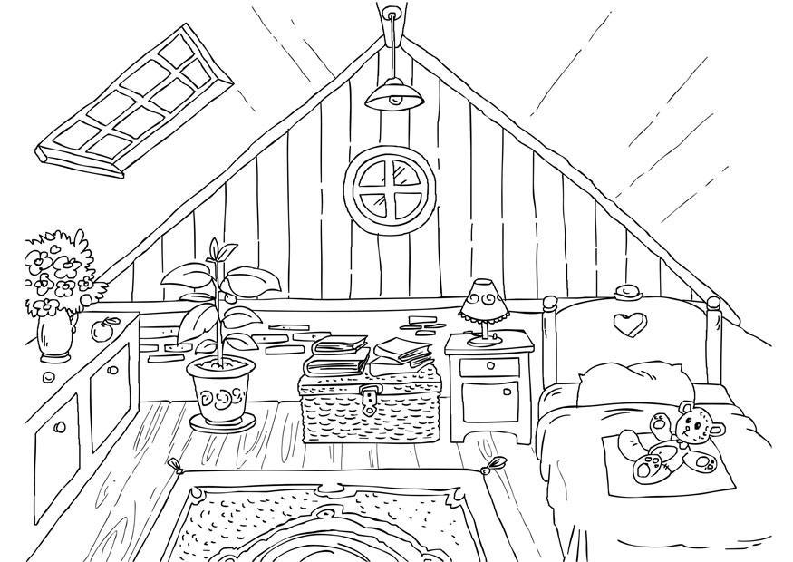 Malvorlage Dachboden | Ausmalbild 26226.