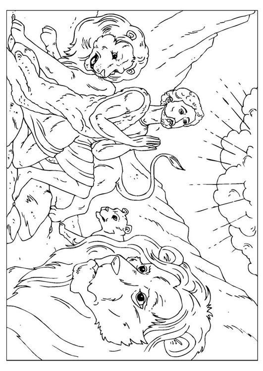 Malvorlage Daniel in der Löwengrube | Ausmalbild 26001.