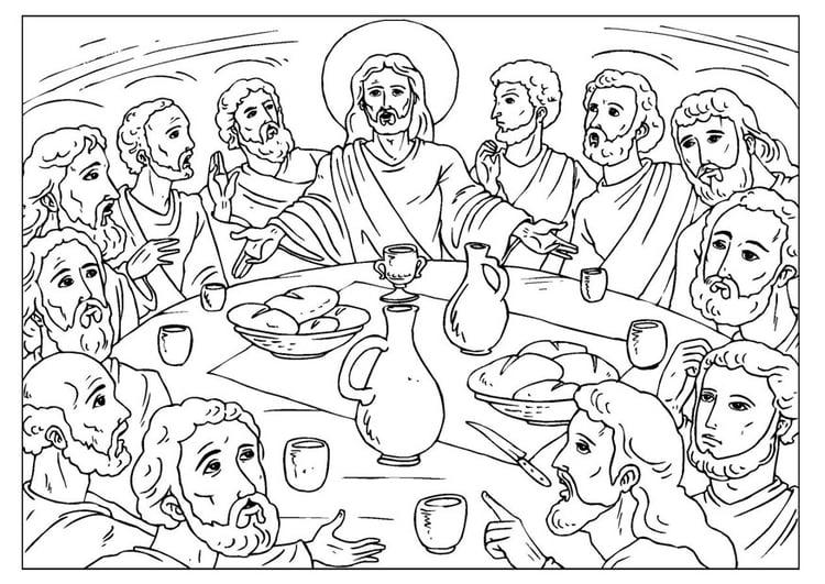 Malvorlage das letzte Abendmahl | Ausmalbild 25923.