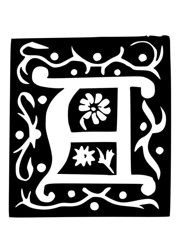 malvorlage dekorativer buchstabe  a  kostenlose