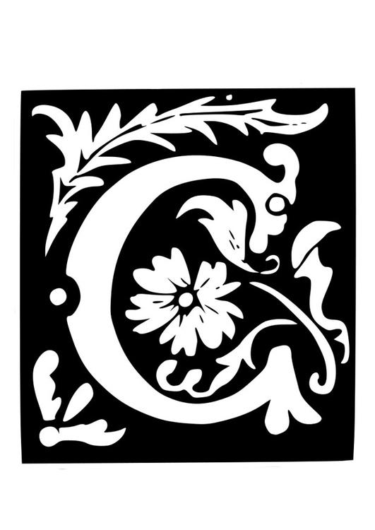 malvorlage dekorativer buchstabe  c  kostenlose