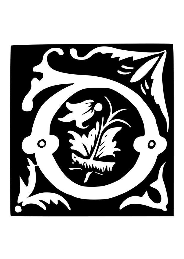 malvorlage dekorativer buchstabe  d  kostenlose