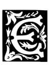 Malvorlage  Dekorativer Buchstabe - E