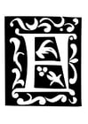 Malvorlage  Dekorativer Buchstabe - F