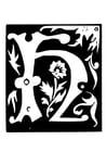 Malvorlage  Dekorativer Buchstabe - H