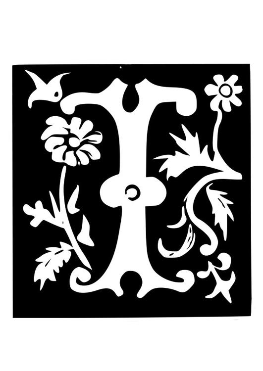 malvorlage dekorativer buchstabe  i  kostenlose