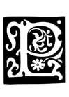 Malvorlage  Dekorativer Buchstabe - P
