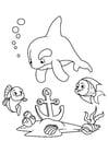 Malvorlage  Delphin und Fisch mit Anker