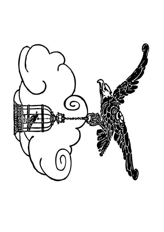 Malvorlage der Adler und die Nachtigall   Ausmalbild 10542.