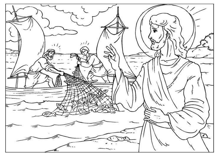 Malvorlage Der wunderbare Fischfang | Ausmalbild 25929.