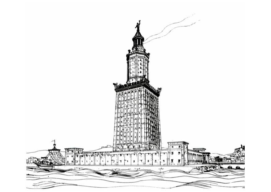 malvorlage die 7 weltwunder  leuchtturm von alexandrien