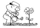Malvorlage  die Blumen giessen