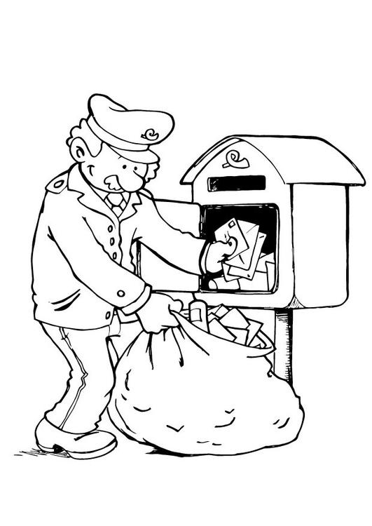 Malvorlage Die Briefzustellung 3 | Ausmalbild 23095.