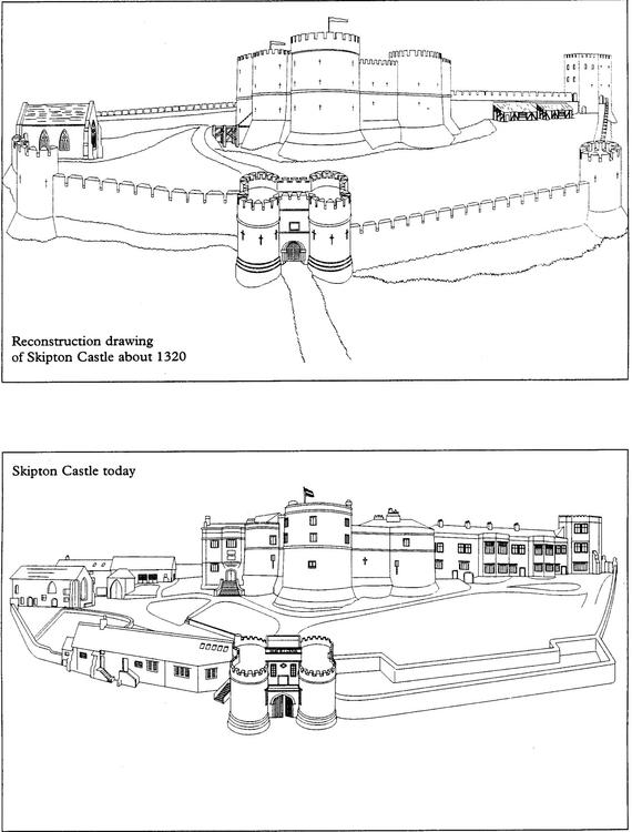 malvorlage die burg 1320 und heute  ausmalbild 14901