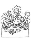 Malvorlage  die Lehrerin erzählt