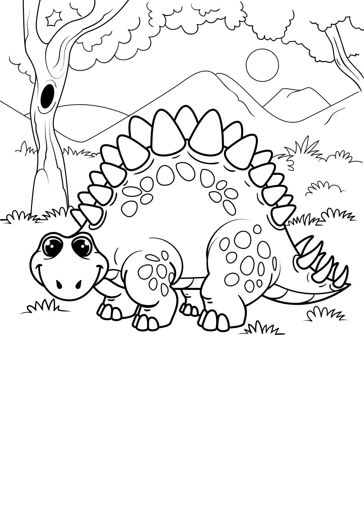 malvorlage dinosaurier im wald  kostenlose ausmalbilder
